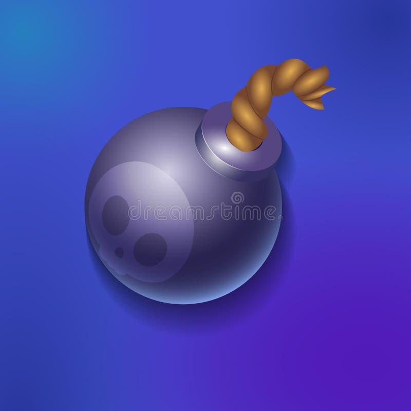 Detalhe dos ativos dos elementos do jogo da bomba ilustração stock
