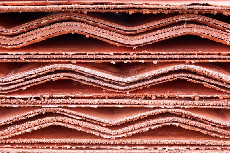 Detalhe dos cátodos de cobre imagens de stock royalty free