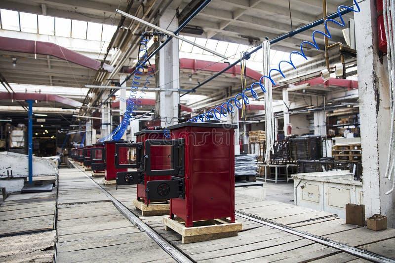 Detalhe dos fogões na fábrica fotos de stock