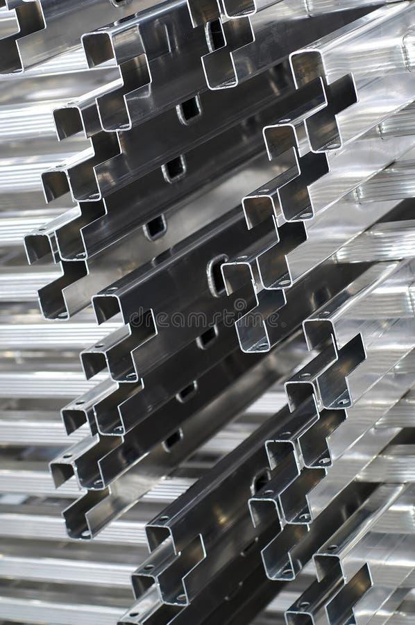 Detalhe dos perfis de alumínio imagem de stock