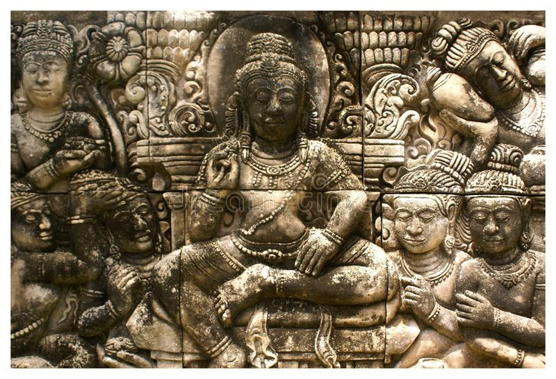 Detalhe a escultura do baixo relevo na pedra no jardim botânico de Phuket de Tailândia fotos de stock royalty free