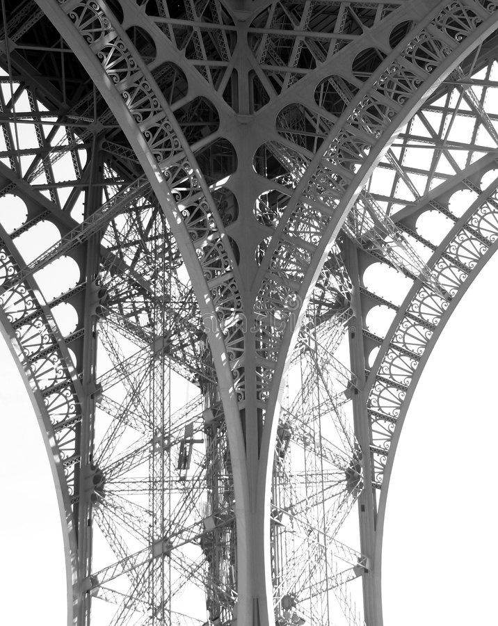 Detalhe estrutural da torre Eiffel fotografia de stock
