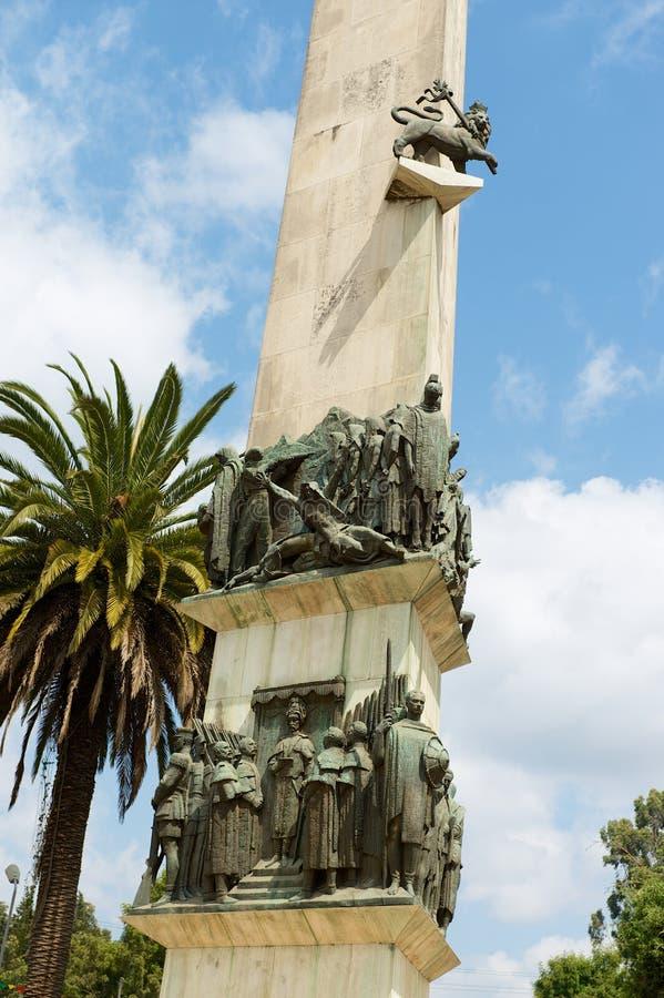 Detalhe exterior do monumento de Yekatit 12 em Addis Ababa, Etiópia foto de stock