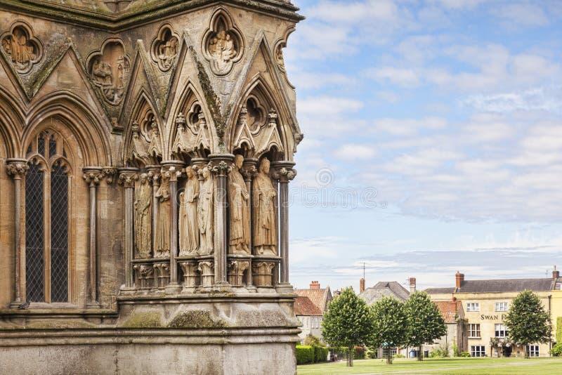 Detalhe exterior Reino Unido da catedral de Wells imagens de stock