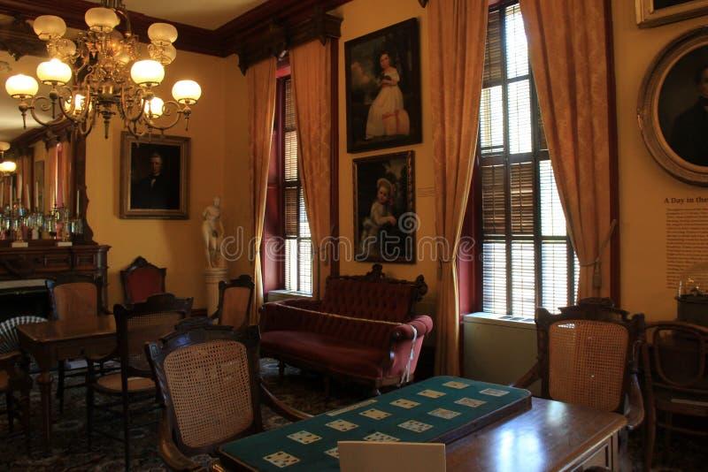 Detalhe impressionante na mobília e nos retratos, casino de Canfield, Saratoga New York, 2016 fotos de stock
