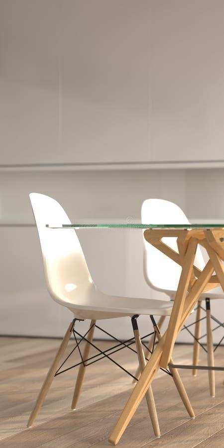 Detalhe interior moderno com cadeiras e tabela imagem de stock royalty free