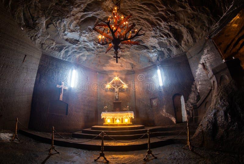 Detalhe interno da mina de sal de Cacica, curso de Romênia Bucovina imagem de stock