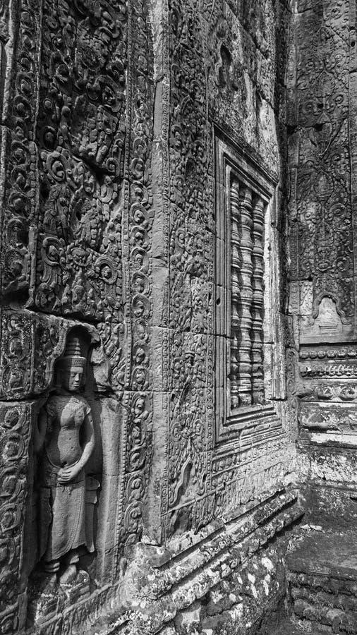 Detalhe intrincado do templo em Angkor Wat imagens de stock royalty free