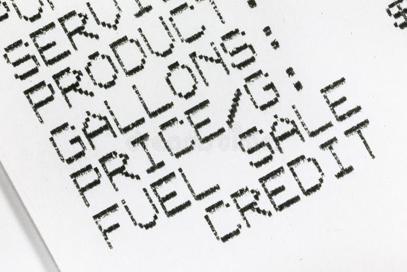 Detalhe macro do recibo do papel do combustível da gasolina foto de stock royalty free