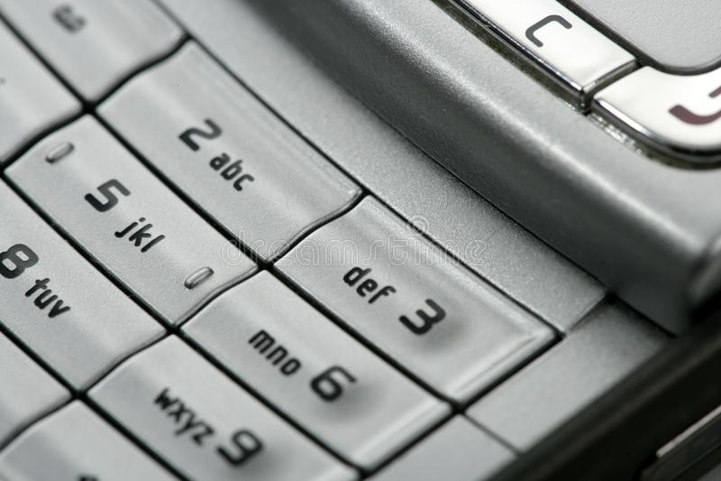 Detalhe macro do teclado do telefone móvel imagem de stock royalty free