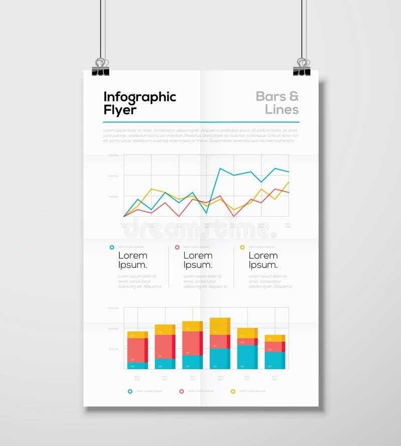Detalhe o inseto infographic do negócio com vetor da linha e do gráfico de barra ilustração royalty free