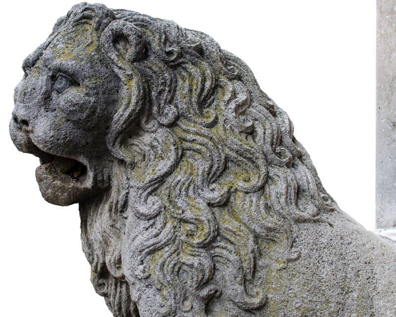 Detalhe o leão do coluna-rolamento cinzelado na pedra fotografia de stock