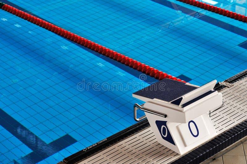 Detalhe olímpico da piscina, começando o lugar foto de stock