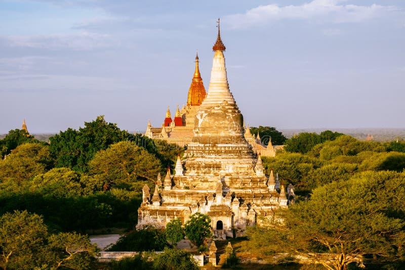 Detalhe a opinião da paisagem dos pagodes e dos templos em Bagan imagem de stock