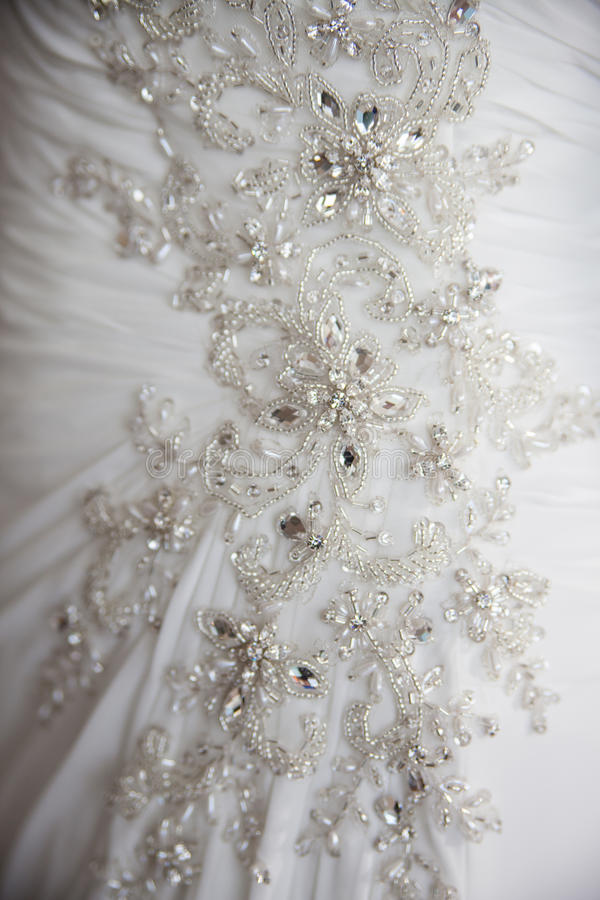 Detalhe próximo no vestido de casamento fotos de stock royalty free