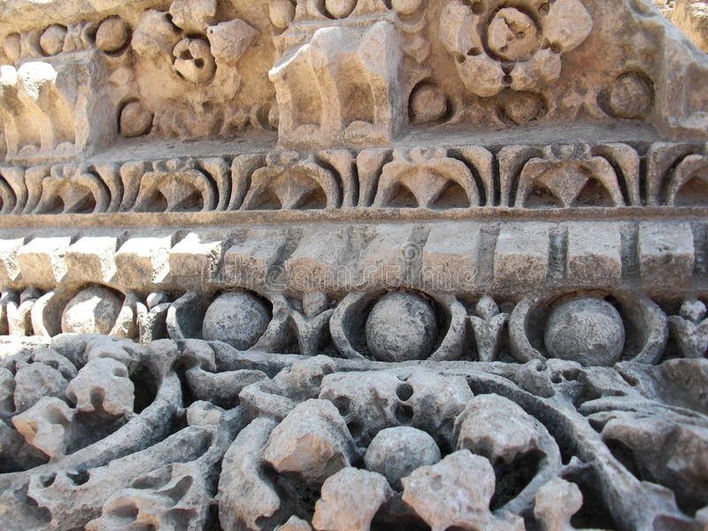 Detalhe romano antigo das colunas de Jerash imagem de stock