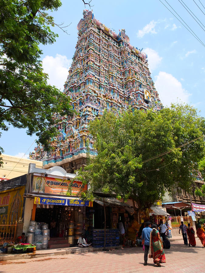 Detalhe, templo Madurai de Menakshi imagem de stock royalty free