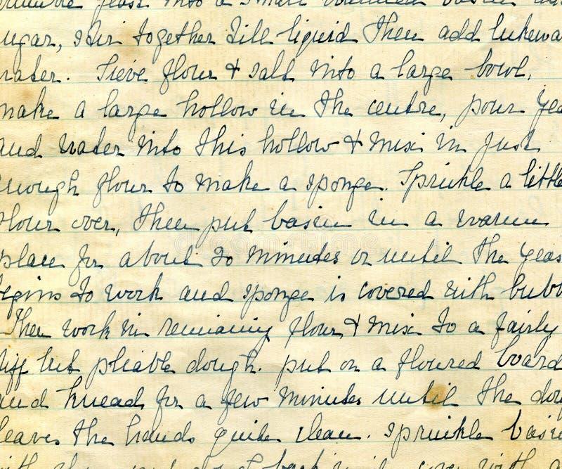Detalhe velho da escrita da receita foto de stock