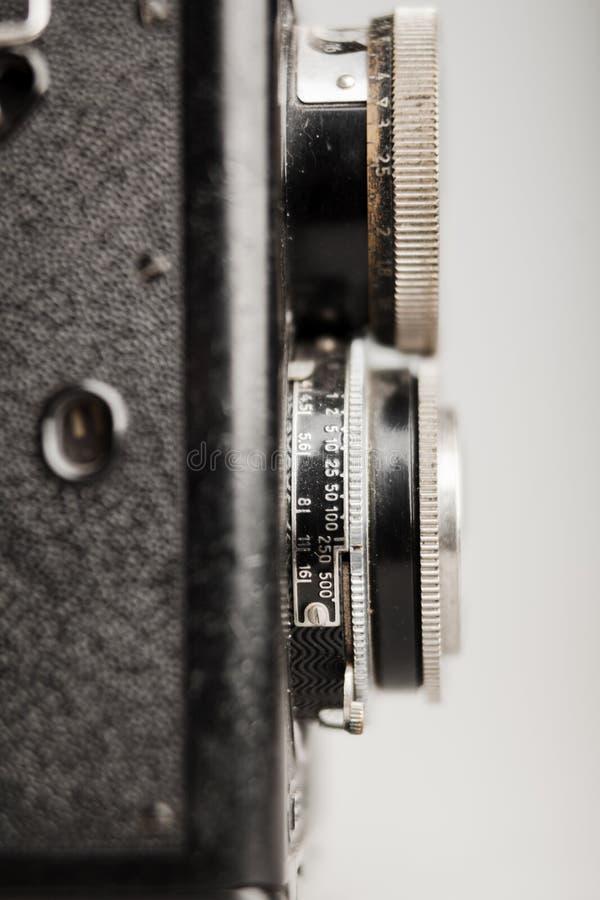 Detalhe velho do close-up da câmera da foto imagem de stock royalty free