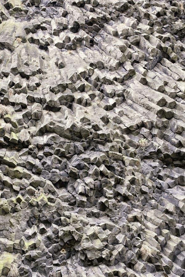 Detalhe vulcânico sextavado da parede de prisma imagens de stock
