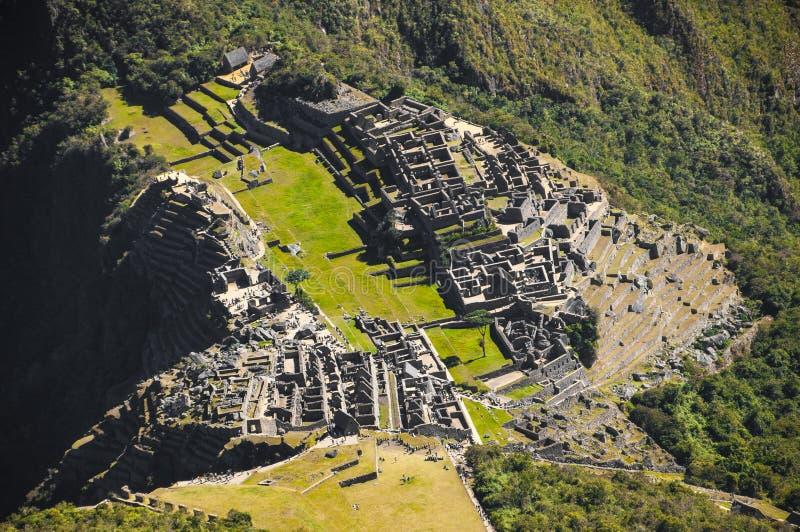 Detalhes altos da opinião de Machu Picchu imagens de stock royalty free