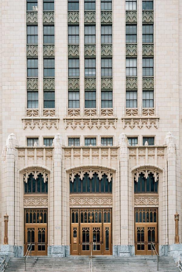 Detalhes arquitetónicos de câmara municipal, em Atlanta, Geórgia imagens de stock royalty free