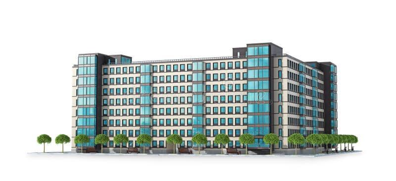 Detalhes arquitet?nicos de pr?dio de apartamentos moderno ilustra??o 3D ilustração royalty free
