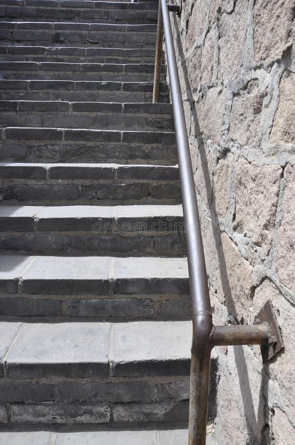 Detalhes chineses das escadas do Grande Muralha na passagem de Juyongguan imagens de stock royalty free