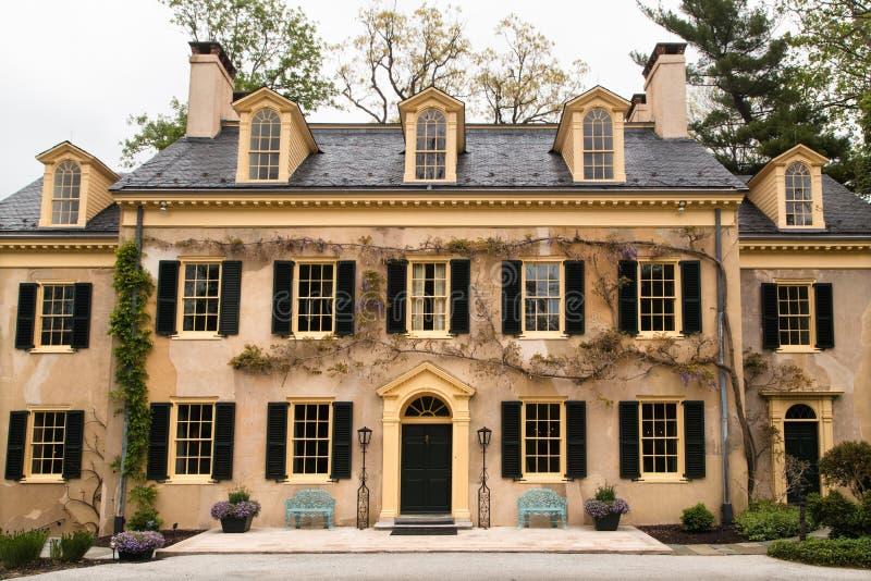 Detalhes da antiga casa e arquitetura. Idade dourada da hist?ria americana fotografia de stock