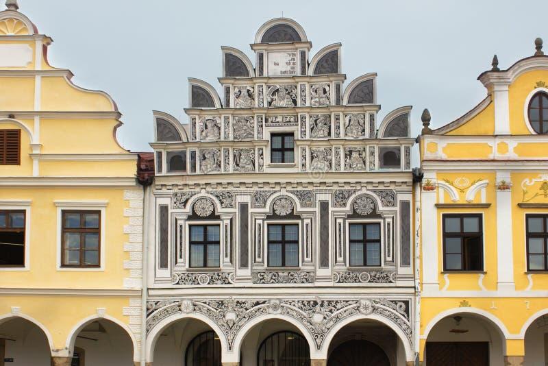Detalhes da arquitetura Cidade europeia velha Telc, república checa fotografia de stock royalty free