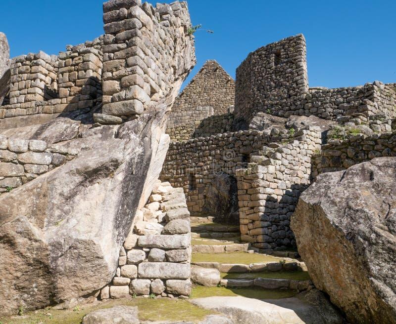 Detalhes da arquitetura de ruínas de Machu Picchu imagens de stock royalty free