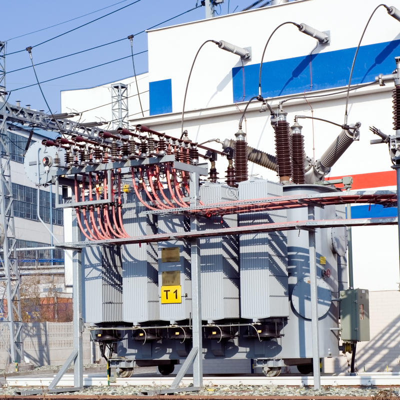 Detalhes da central eléctrica e do transformador fotografia de stock
