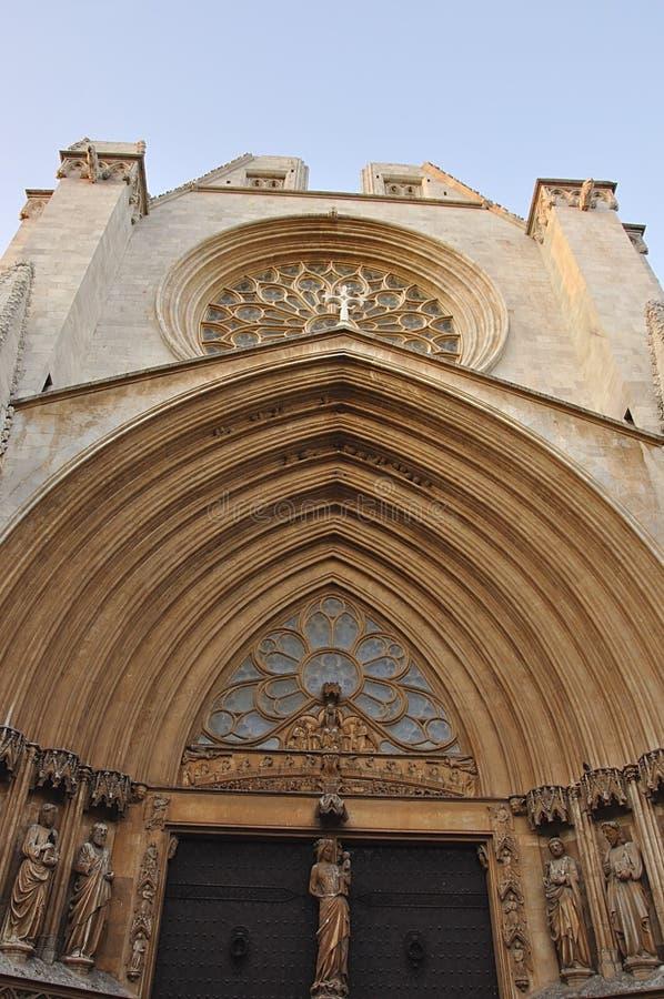 Detalhes da fachada da catedral de Tarragona. fotografia de stock