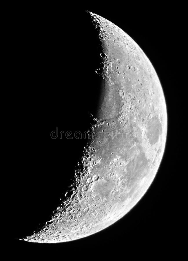 Detalhes da lua no sétimo dia da lua fotografia de stock royalty free