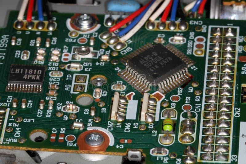 Detalhes da placa de circuito do computador fotografia de stock royalty free