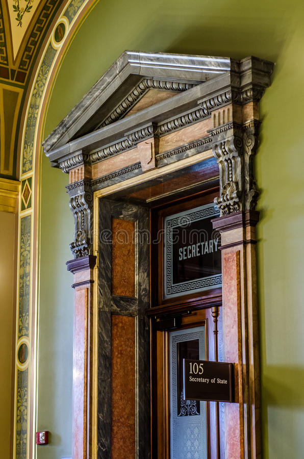 Detalhes de arquitetura, secretário do close-up do Capitólio do estado de Iowa do escritório do estado fotografia de stock