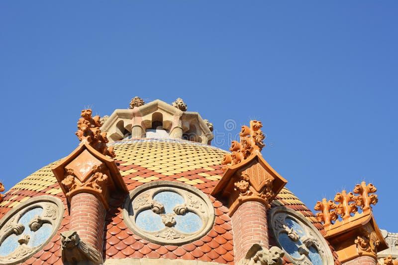 Detalhes de hospital de Sant Pau em Barcelona imagem de stock