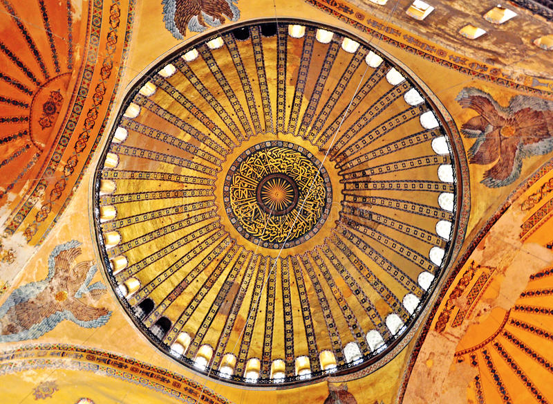 Detalhes de interior da igreja de Hagia Sophia, Istambul fotos de stock royalty free