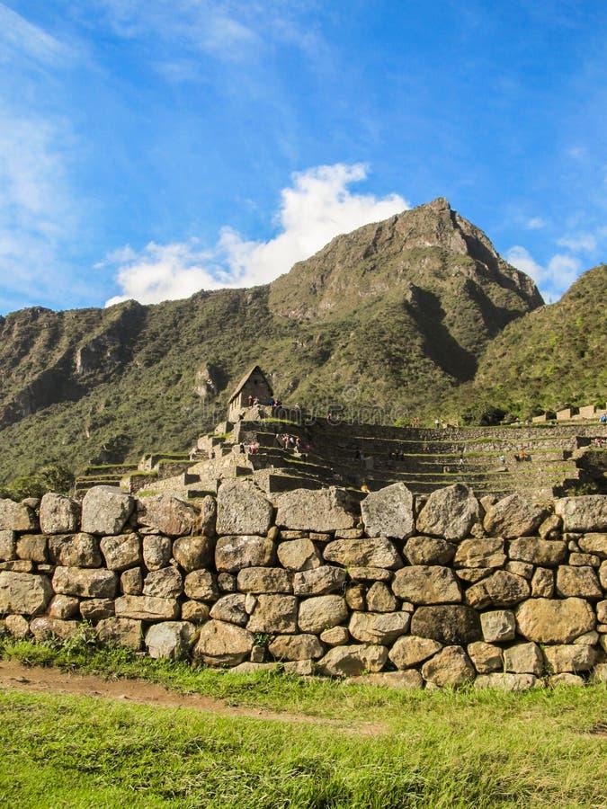 Detalhes de local arqueológico de Machu Picchu imagem de stock