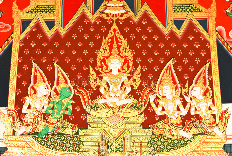 Detalhes de pintura tailandesa da igreja do estilo tradicional. foto de stock