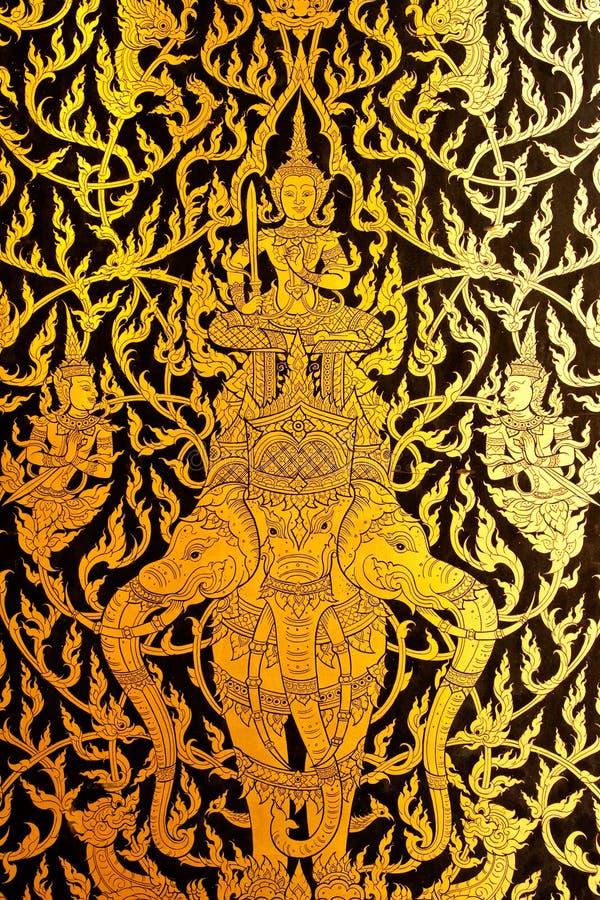 Detalhes de pintura tailandesa da porta do estilo tradicional. ilustração royalty free