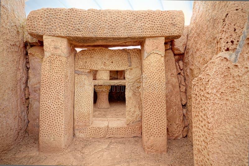 Detalhes de templos megalíticos de Mnajdra de Malta Qrendi foto de stock