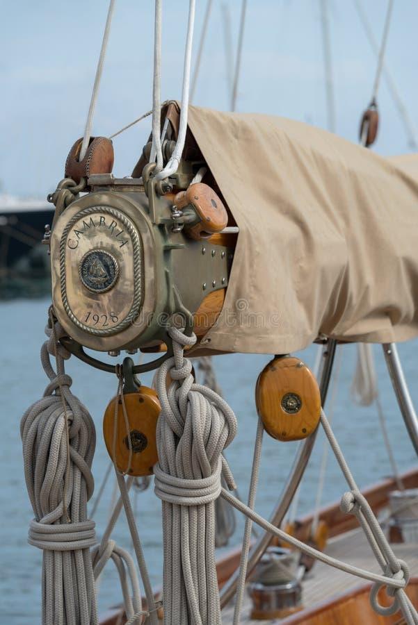 Detalhes de um sailboat no estilo velho fotografia de stock royalty free