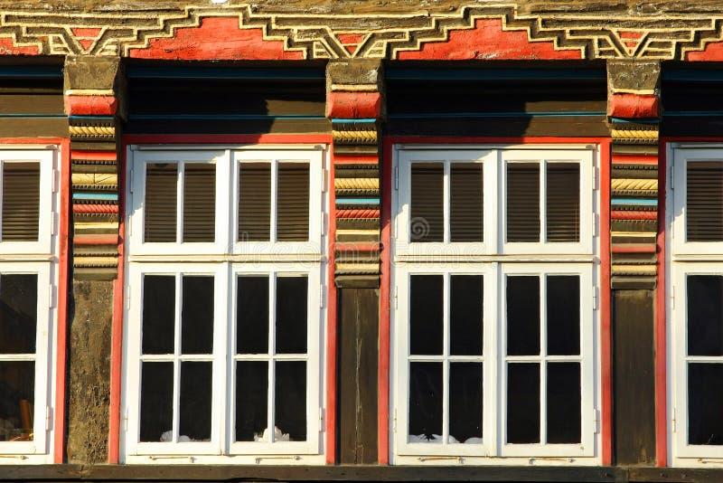 Detalhes de uma casa no centro de Hameln, em Alemanha fotografia de stock