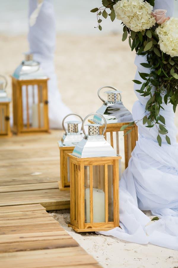 Detalhes do casamento de praia foto de stock royalty free