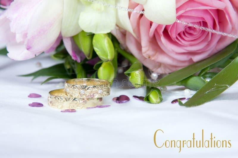 Detalhes do casamento - felicitações imagens de stock