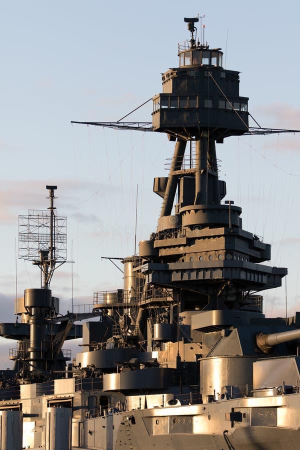 Detalhes do close up de navio de guerra texas em houston imagens de stock royalty free