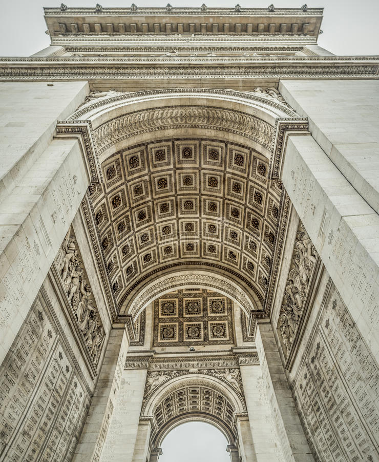 Detalhes do interior de Arc de Triomphe fotos de stock