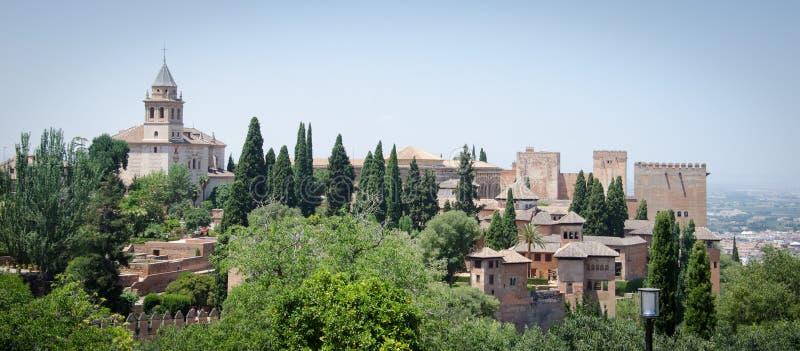 Detalhes do palácio de Generalife do palácio de Alhambra em Granada spain fotos de stock