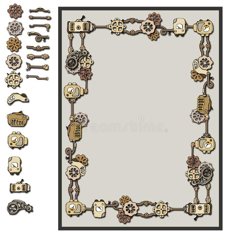 Detalhes do quadro de Steampunk ilustração stock
